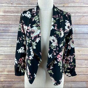 Love Tree Black Lightweight Floral Blazer Jacket